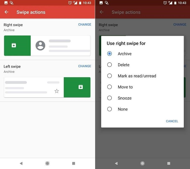 right and left swipe settings