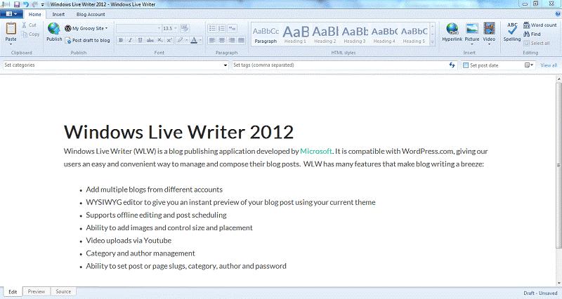 windows live writer Desktop Blogging Platforms