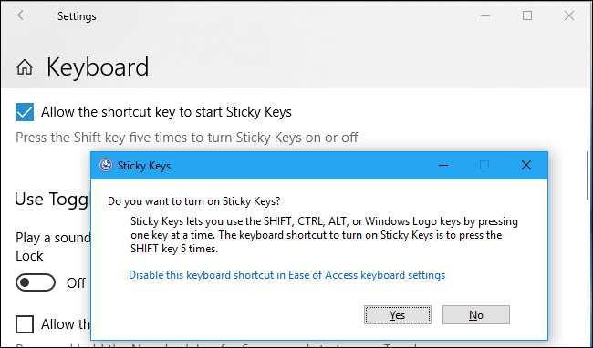 Disable Sticky Keys Shortcut