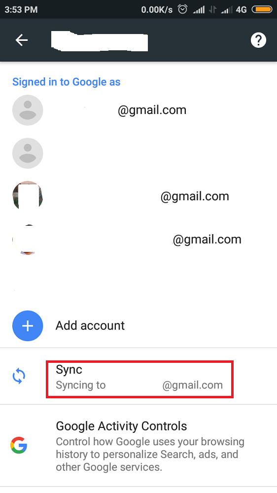 Manage Syncing Options