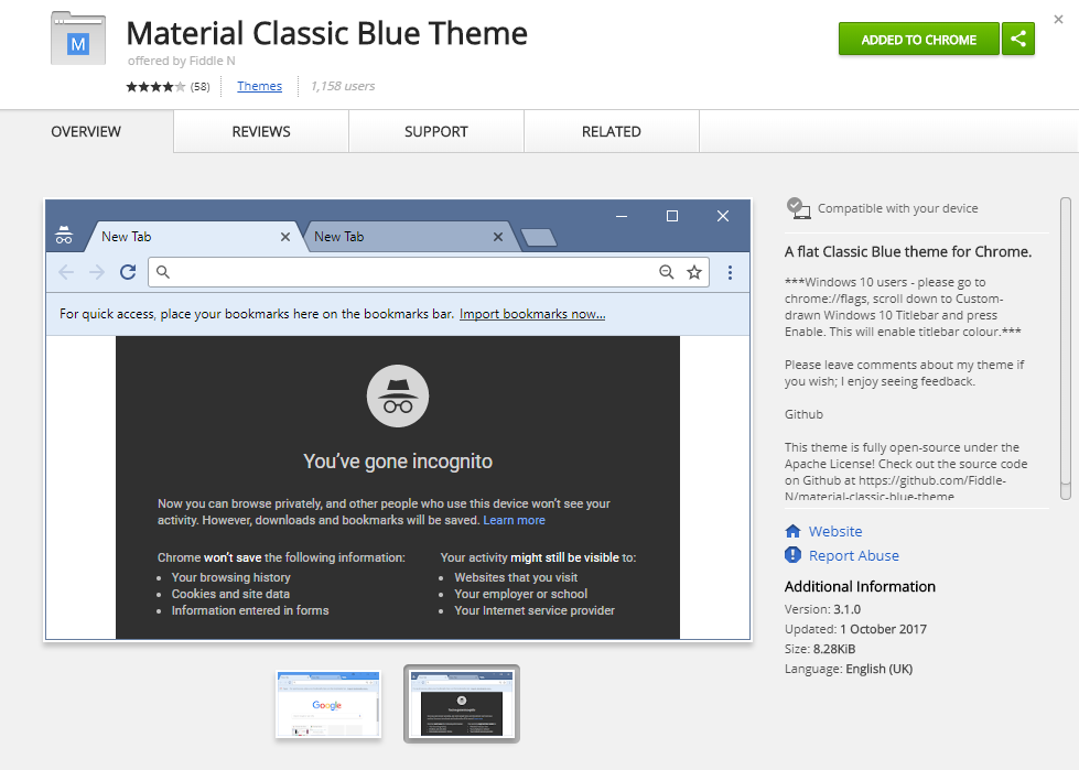 .Material Classic Blue Theme