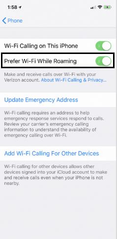 Prefer Wi-Fi While Roaming option