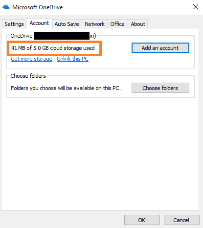 check one drive storage on pc