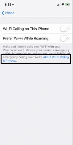 enable Wi-Fi calling