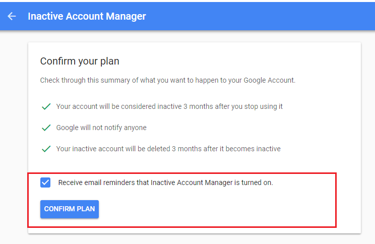 inactive account confirm plan