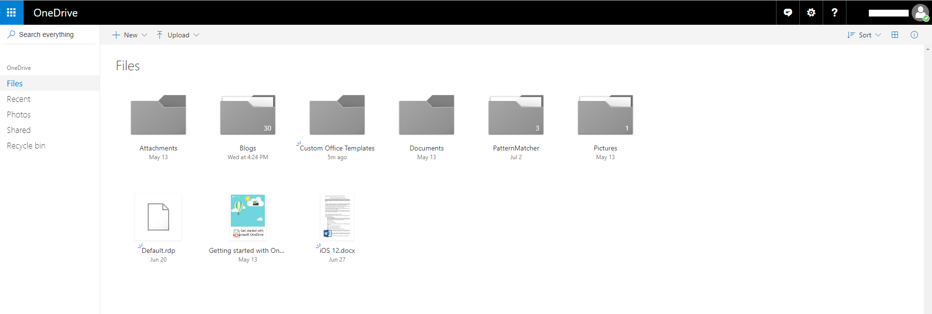 one drive on web app
