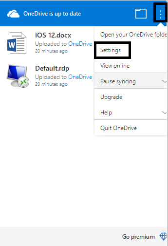 one drive settings for pc