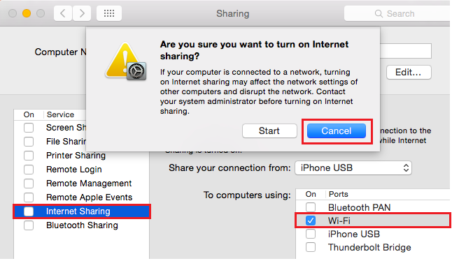 turn on internet sharing mac