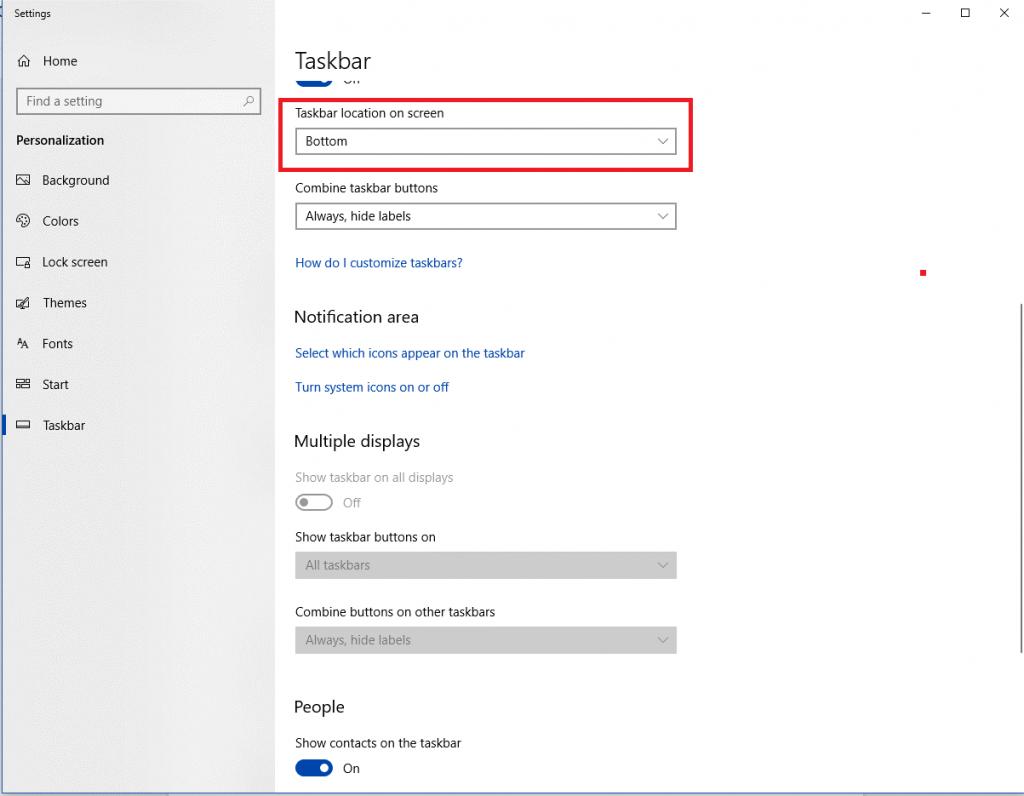 change the position of taskbar-1