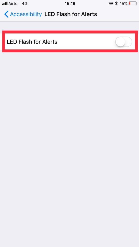 turn on flash notification on iphone
