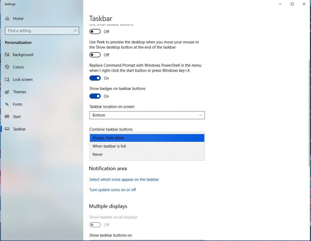 Arrange Taskbar button