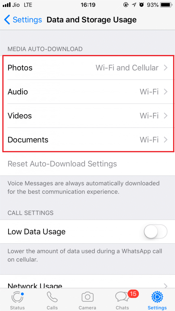 Restrict automatic download of videos and photos