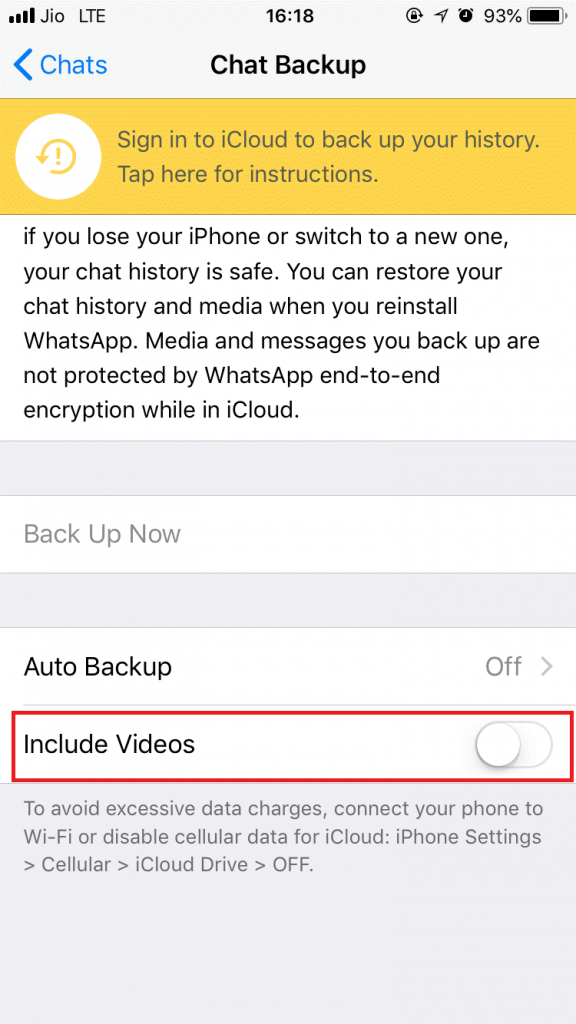 Turn off chat back up or exclude Media
