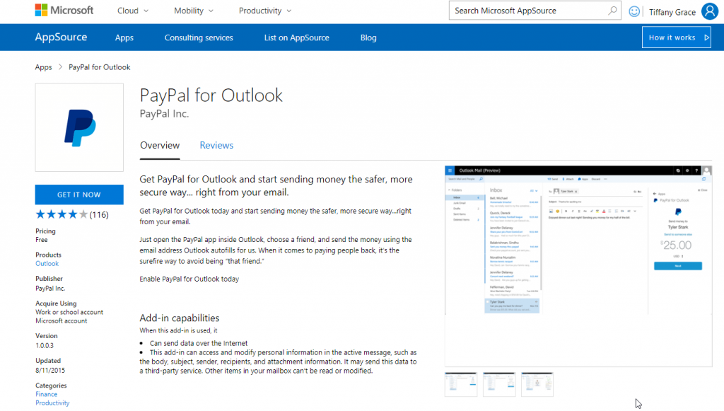 Use PayPal within Outlook