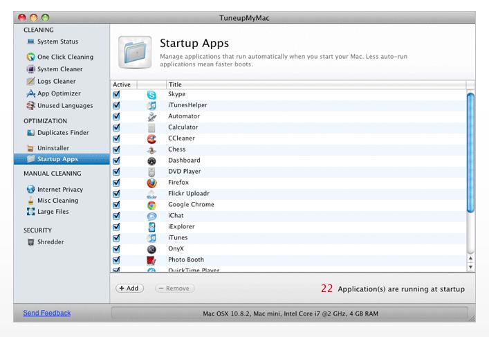 system startup apps