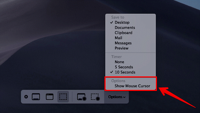 Show Mouse Pointer in Screenshots