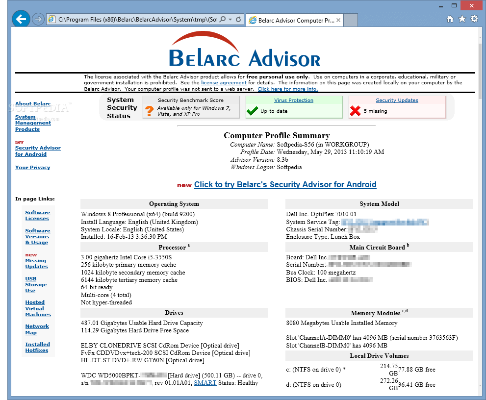 Belarc Advisor- system informatin tool