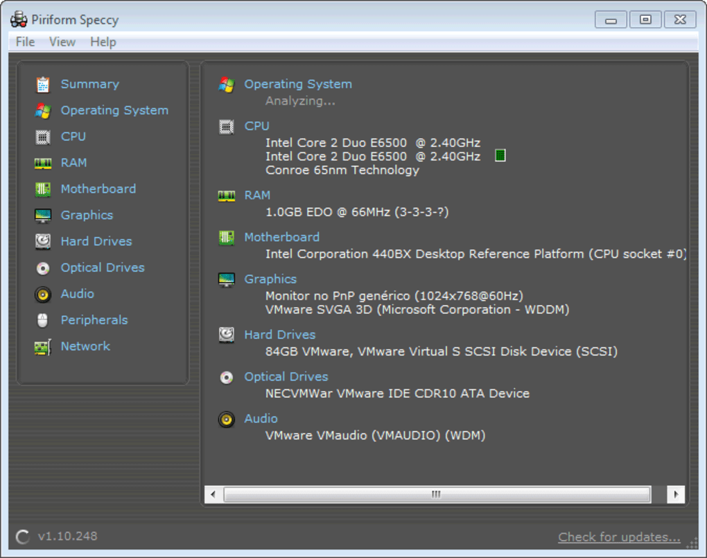 Speccy system information