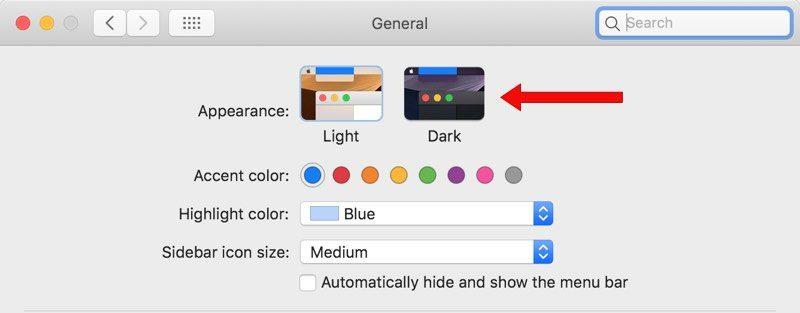 Enable Dark Mode in macOS Mojave -2