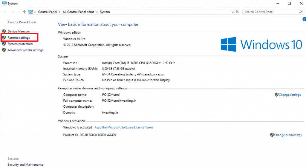 Enable and Disable Remote Assistance in Windows 10 step-3