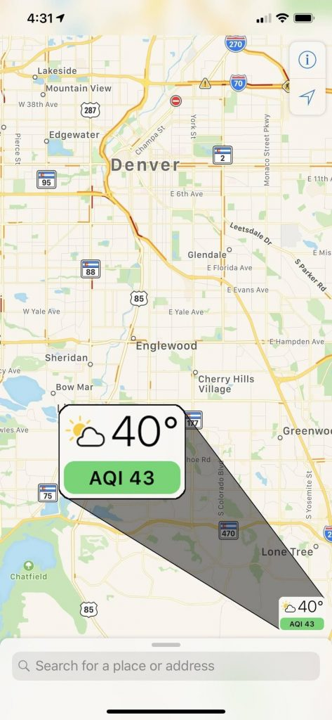 Check Air Quality in Maps