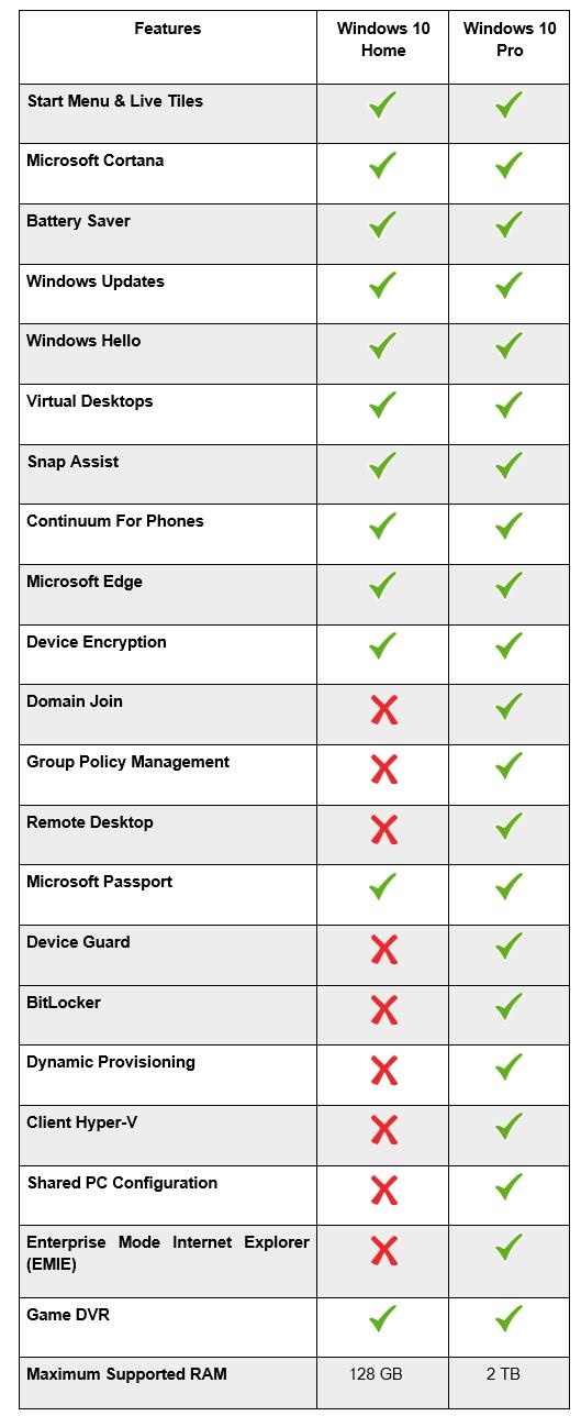 windows pro vs home