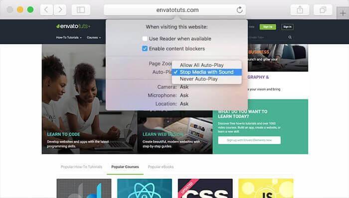 Block Auto-play Videos in Safari for Individual Websites
