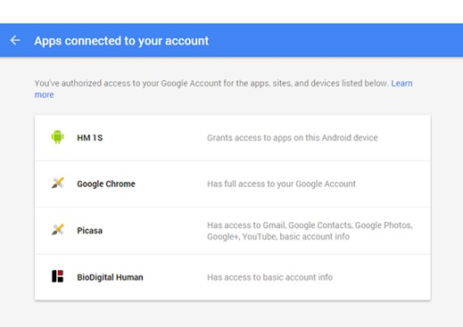 Check applications connected to your account