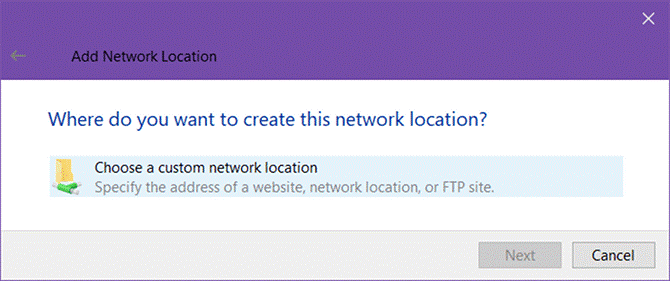 Choose Add A Network Location