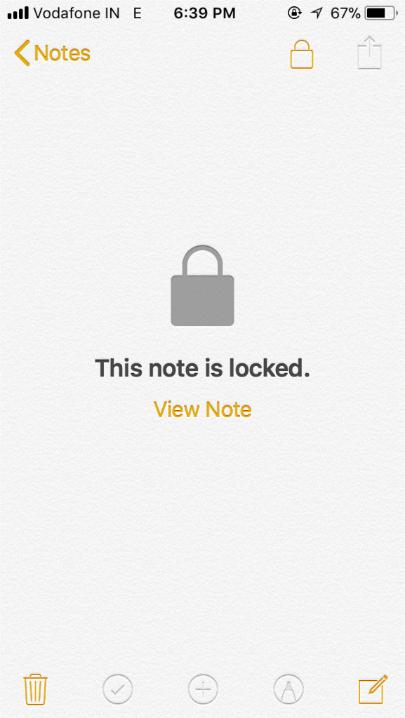 Enable Password in Notes