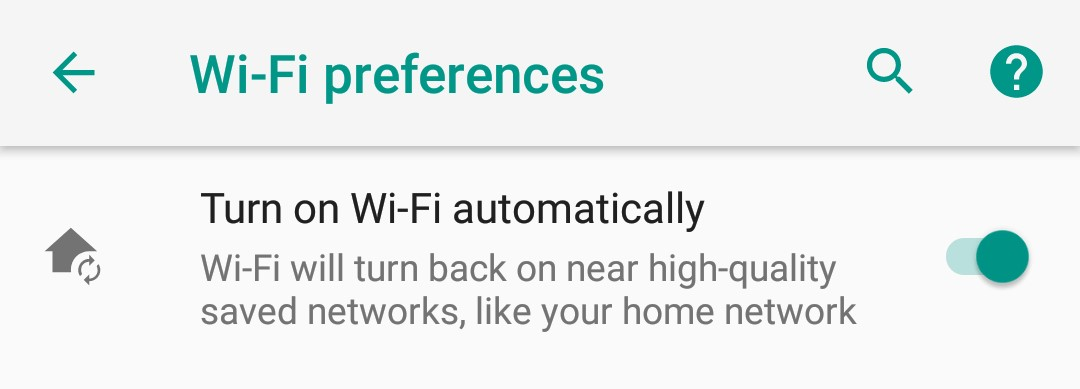 Enable Wi-Fi Automatically