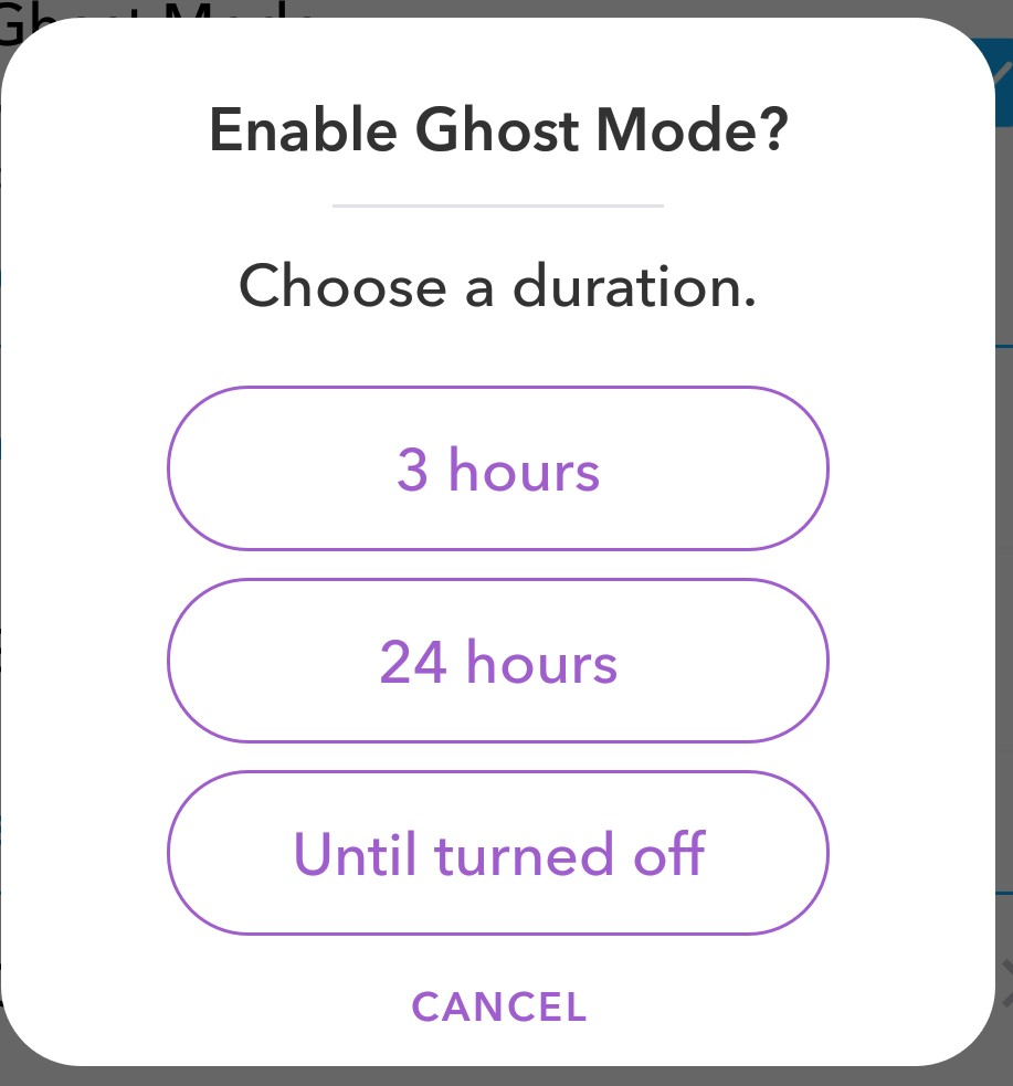 Enable ghost mode in Snap map