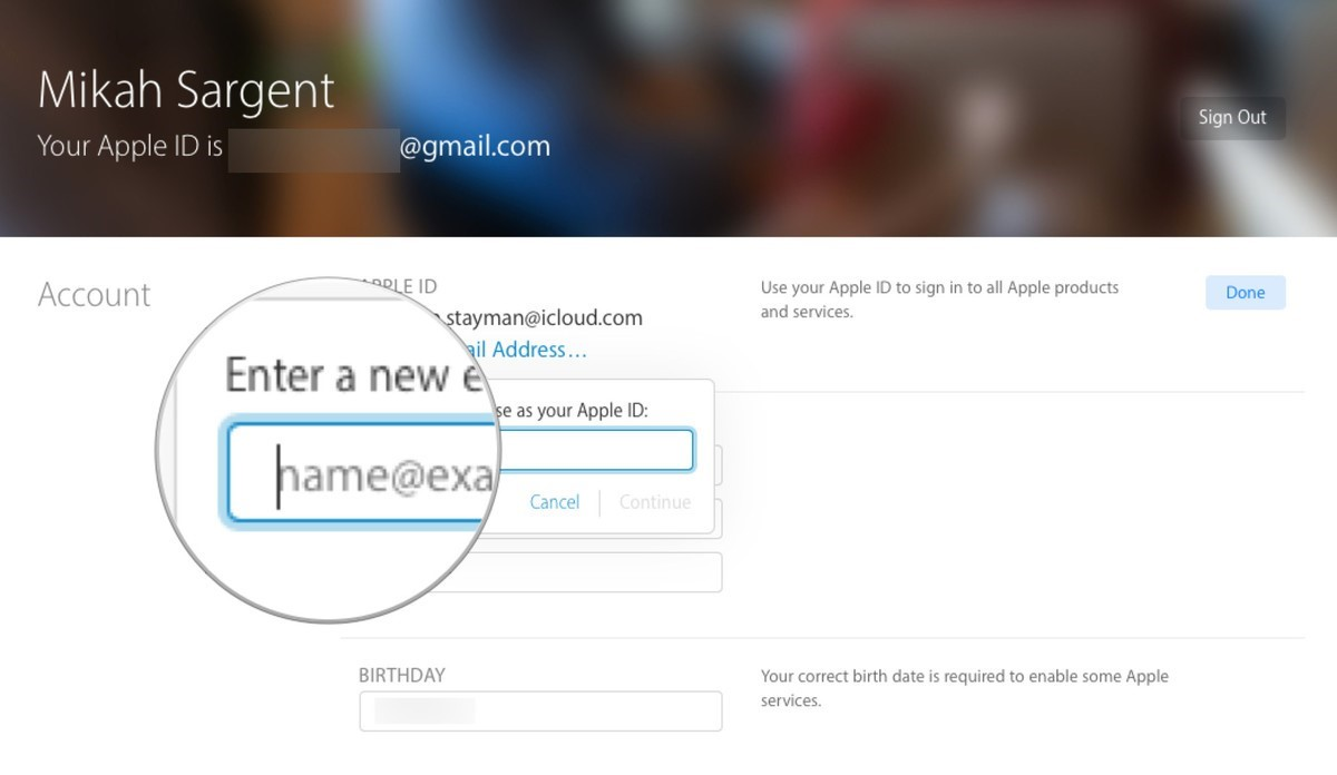 Enter a new email address