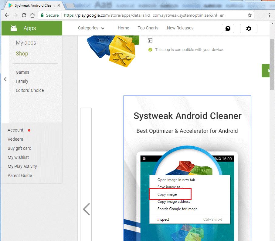 Google Play on chrome browser