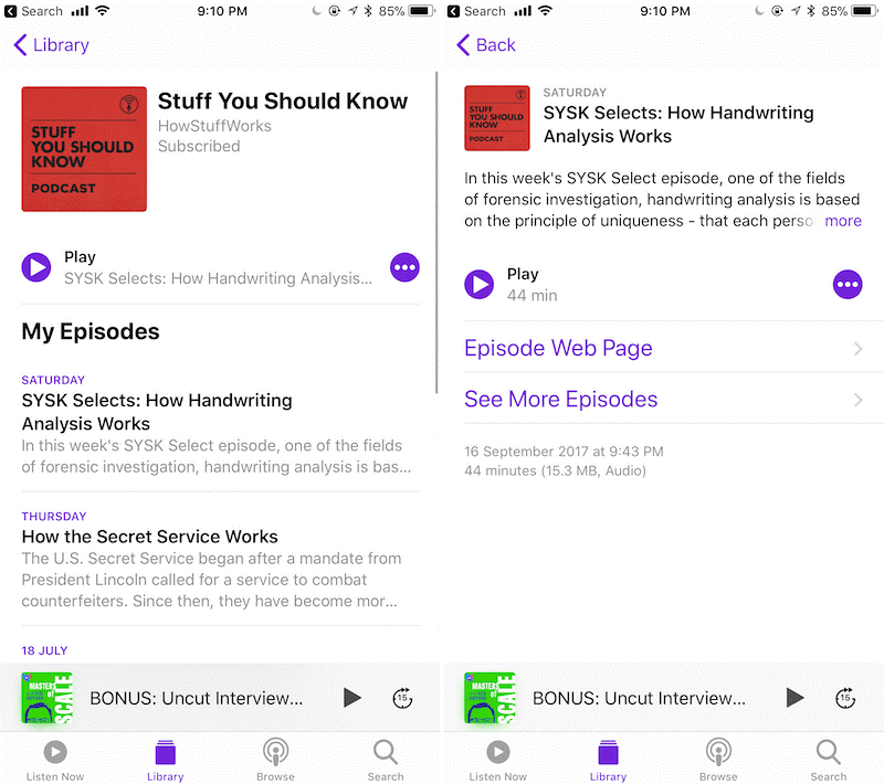 Manage your subscribed podcasts