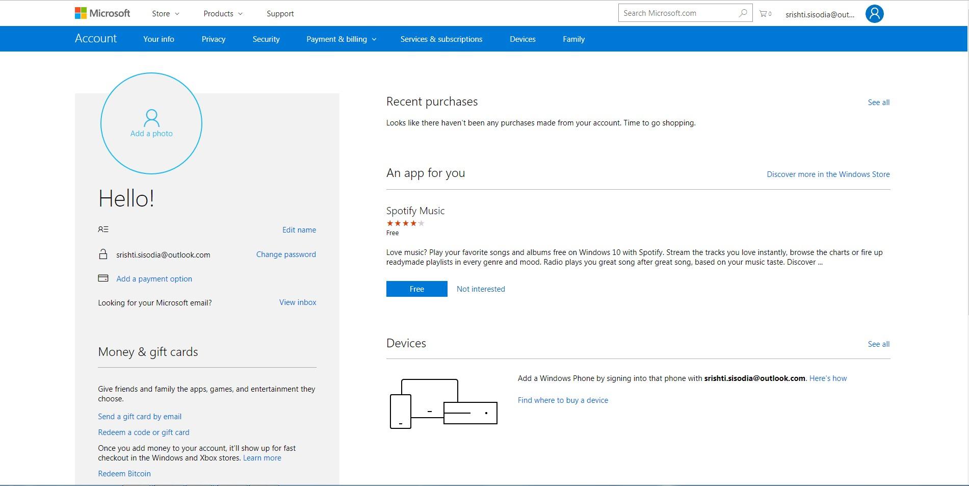 Microsoft account home page