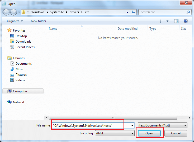 Modify Host file of your system