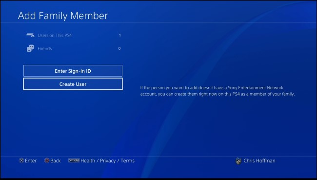 PS4 add family member