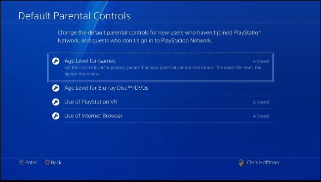 PS4 default parental controls