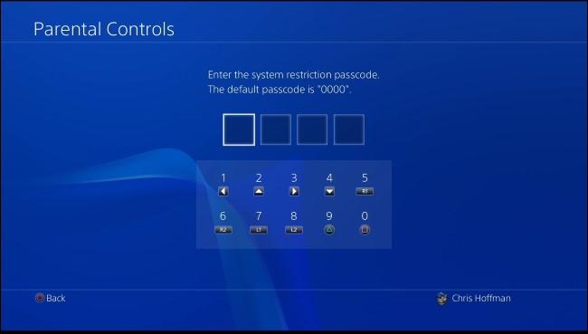 PS4 parental control passcode