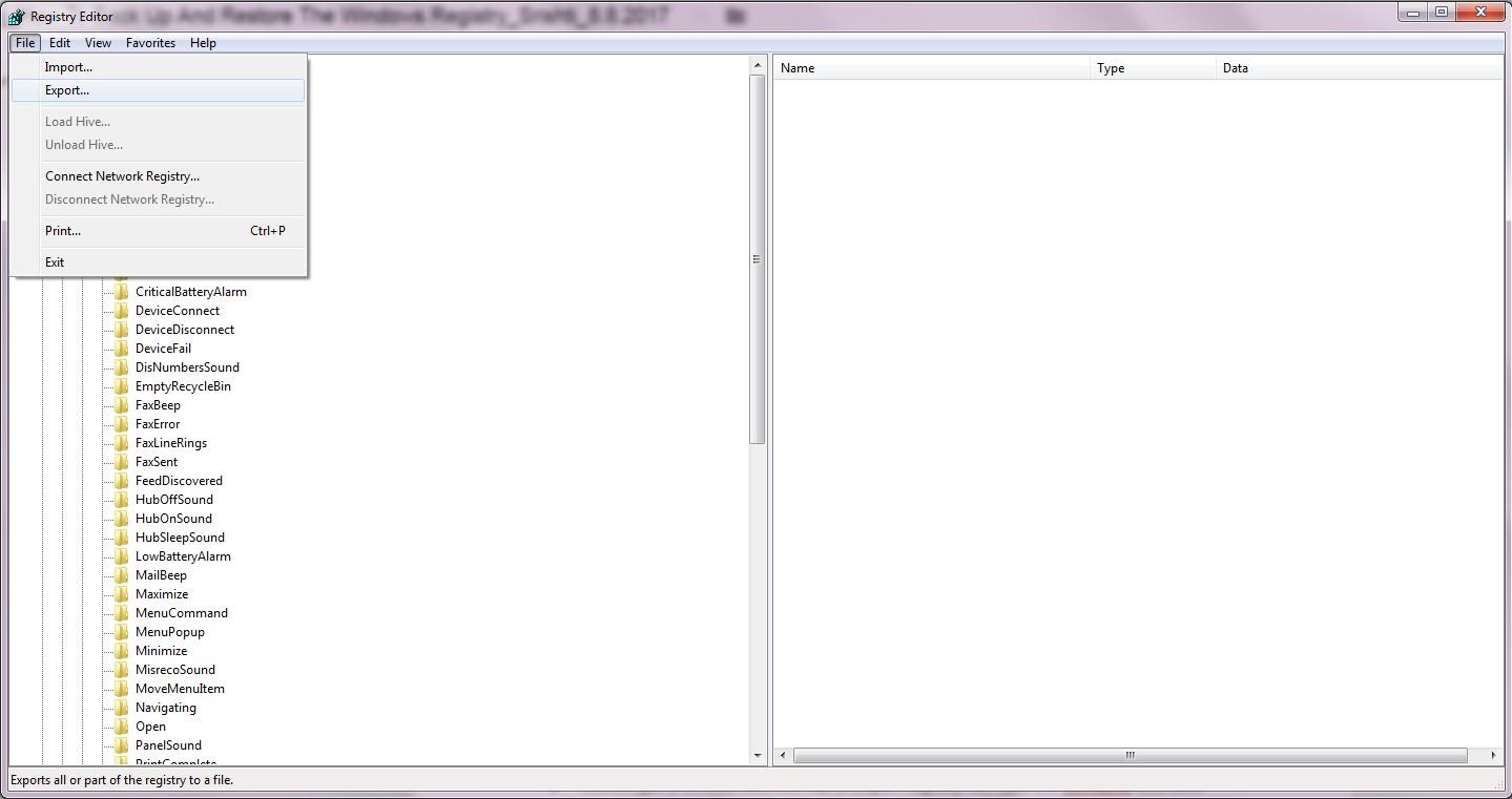 Regedit file export