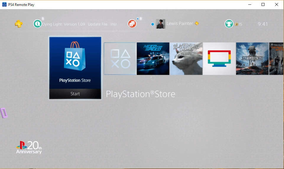 Start PS4 play store