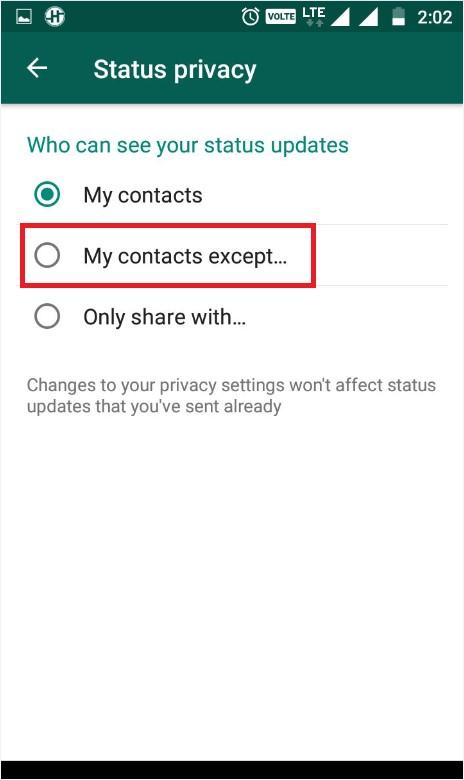 Status privacy whatsapp