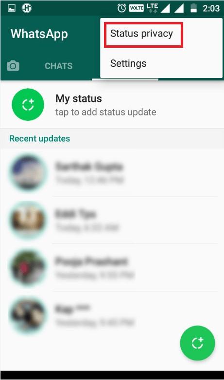 Whatsapp status privacy