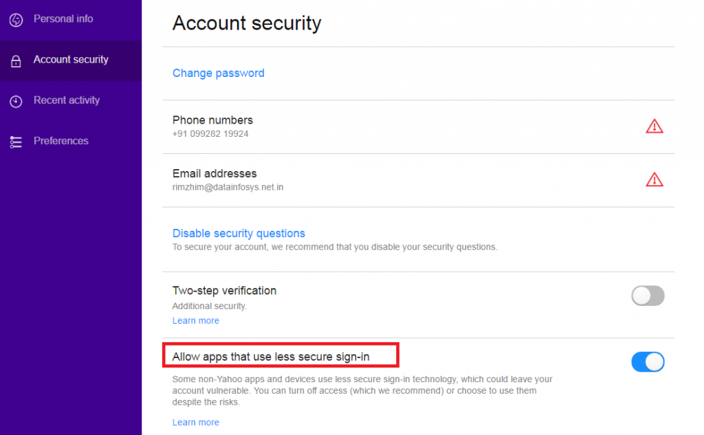 change yahoo password without security questions