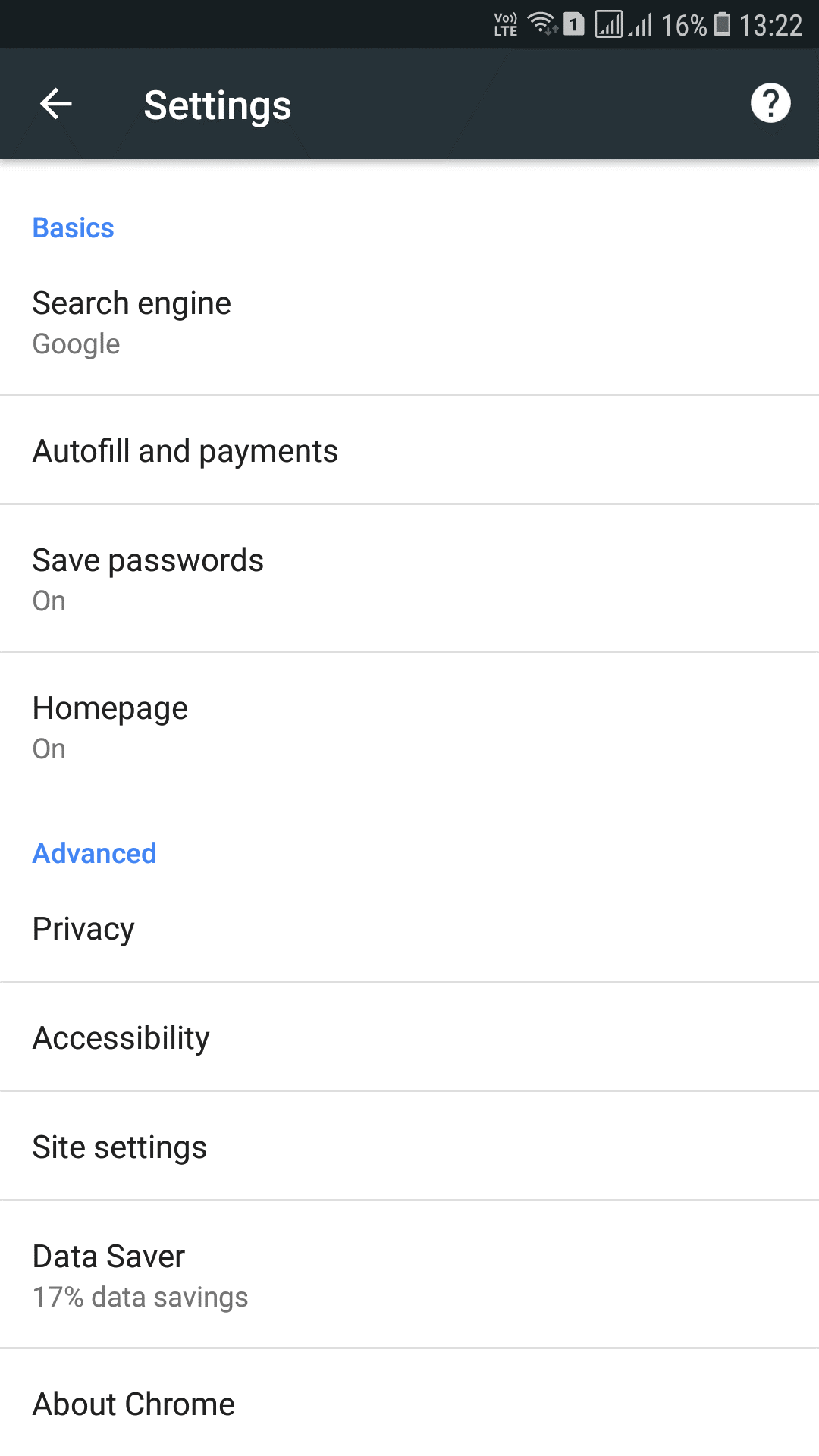 check save password in android for chrome