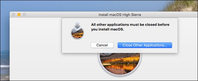 close other applications while install macOS
