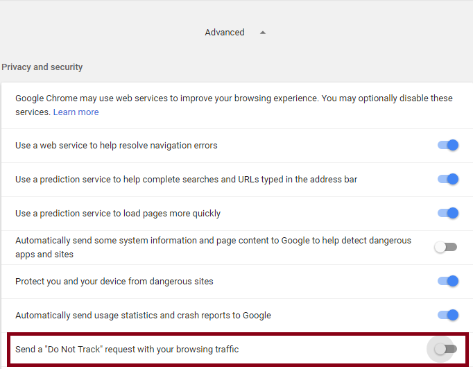 enable do not track in google chrome