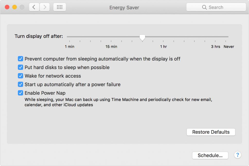 energy saver mac