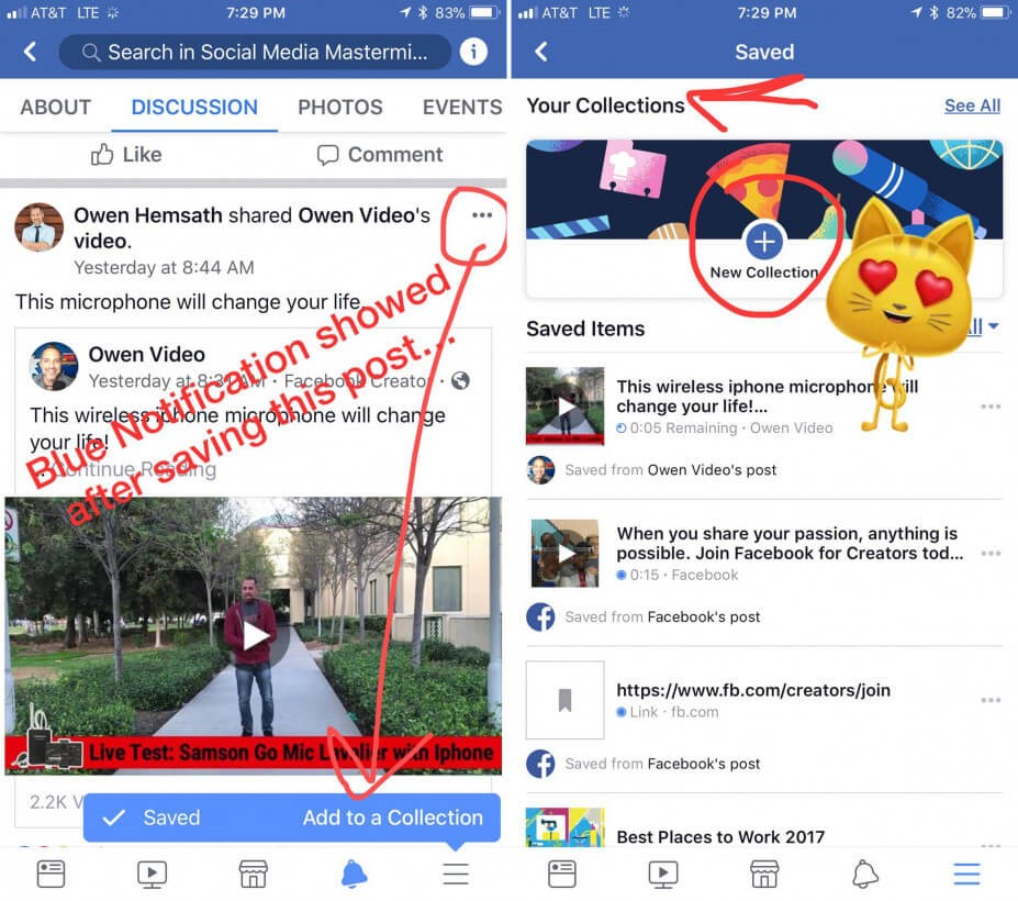 facebook collection feature